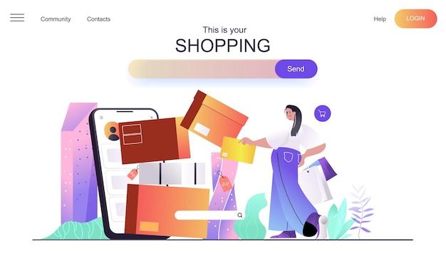 Shopping-webkonzept für die landingpage