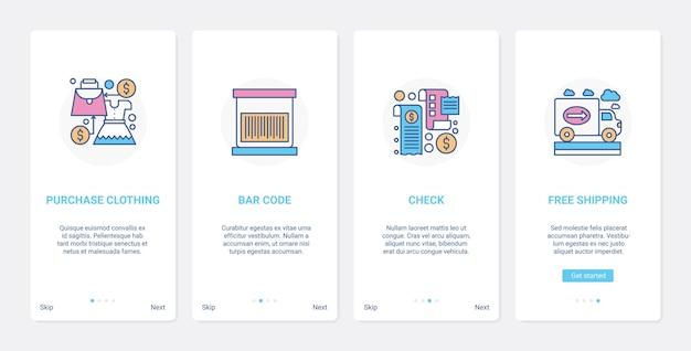 Shopping-zahlungs- und liefertechnologie ux ui onboarding mobiler app-seitenbildschirmsatz