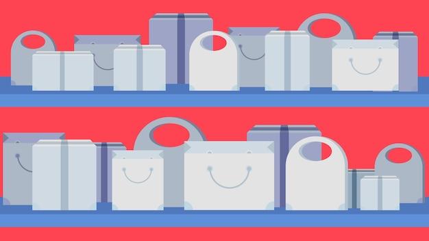 Shoptaschen auf roter fahne