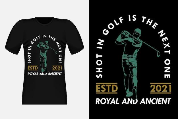 Shot in golf ist das nächste silhouette-vintage-t-shirt-design