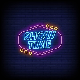 Show time neon signs style text vektor