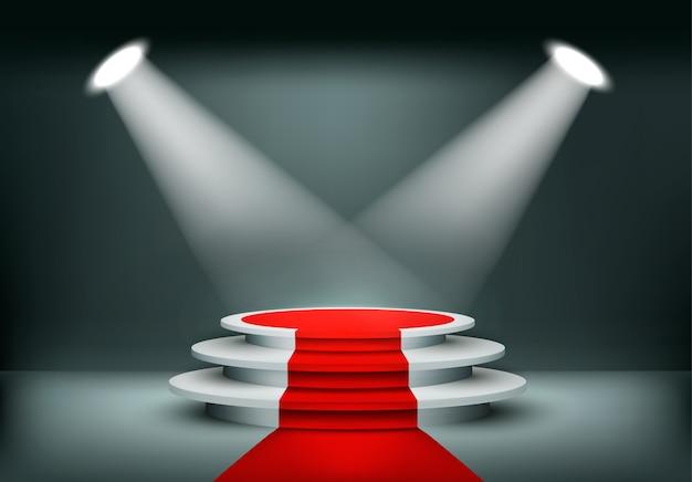 Showroom hintergrund mit einem roten teppich. .