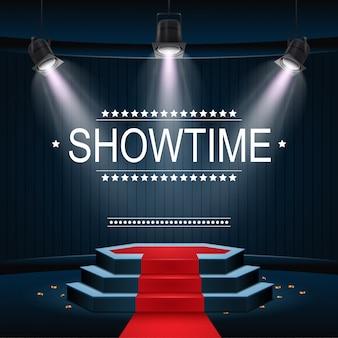 Showtime-banner mit podium und rotem teppich, beleuchtet von scheinwerfern