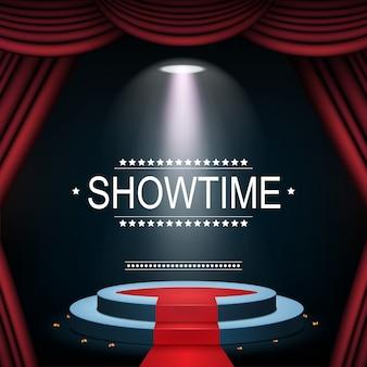 Showtime-banner mit podium und vorhang von scheinwerfern beleuchtet
