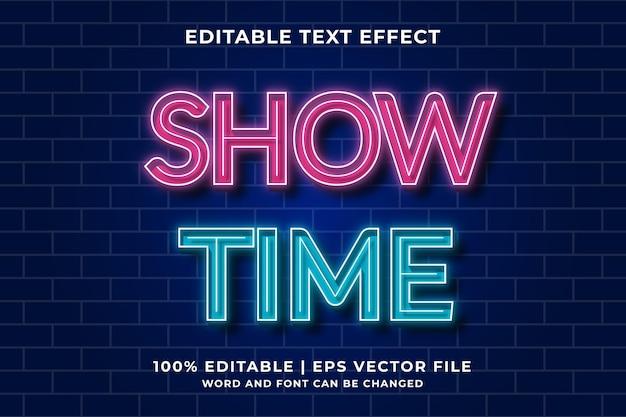 Showtime bearbeitbare texteffektvorlage im neonstil premium-vektor