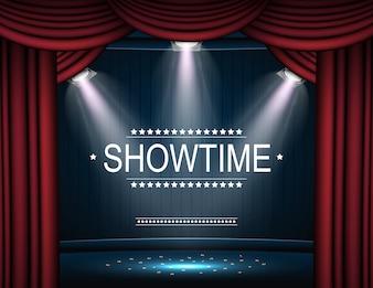 Showtime-Hintergrund mit dem Vorhang, der durch Scheinwerfer belichtet wird