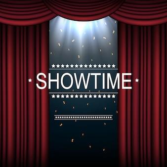 Showtime hintergrund mit vorhang von scheinwerfern beleuchtet
