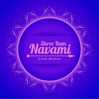 Shree ram navami hindu festival dekorative grußkarte mit rahmen und pfeil
