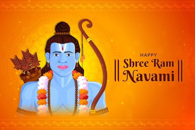 Shri ram navami mit pfeilen grußkarte von lord rama Premium Vektoren