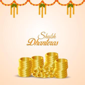 Shubh dhanteras einladungsgrußkarte mit goldmünze auf weißem hintergrund