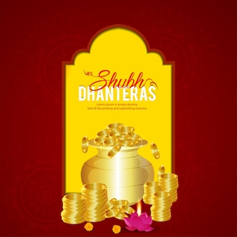 Shubh dhanteras feiergrußkarte mit goldmünze kalash auf kreativem hintergrund