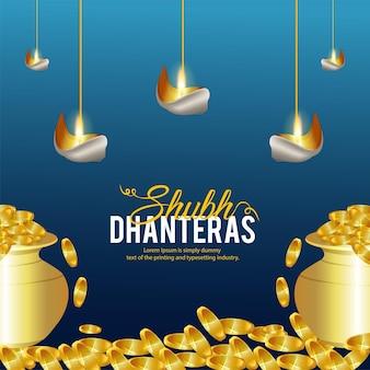 Shubh dhanteras feiergrußkarte mit realistischem goldmünzenkalash