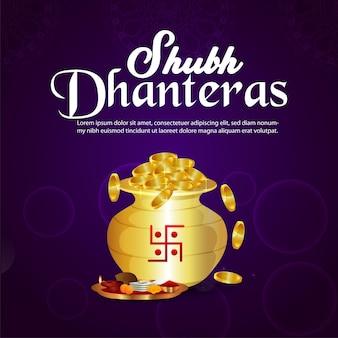 Shubh dhanteras vektorillustration des goldmünzentopfes auf purpurrotem hintergrund