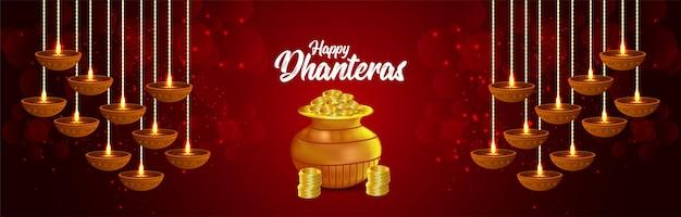 Shubh dhteras indischer festivalhintergrund mit goldmünzentopf