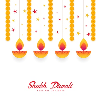 Shubh diwali diya und ringelblumenblumen-kartenentwurf