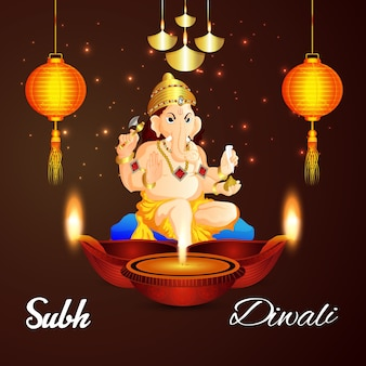 Shubh diwali hintergrund mit kreativen diwali öllampe ad lord ganesha