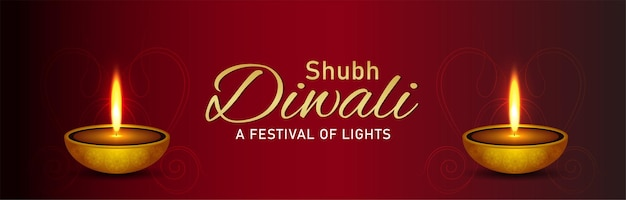 Shubh diwali indisches festival des lichtfeierbanners mit kreativem diya