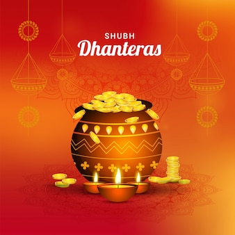 Shubh (happy) dhanteras flyer design.