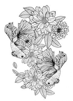 Siamesischer kampffisch der tätowierungskunst und blumenhandzeichnung und -skizze schwarzweiss