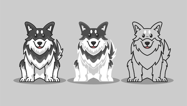 Siberian husky icon cartoon set illustration