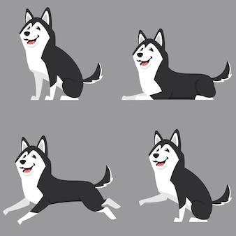 Siberian husky in verschiedenen posen. schöner hund im karikaturstil.