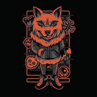 Siberian husky neon graustufen-illustration Premium Vektoren
