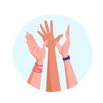 Sich gegenseitig high five geben