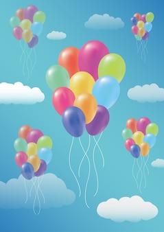 Sich hin- und herbewegende ballonwolke auf einem himmelhintergrund