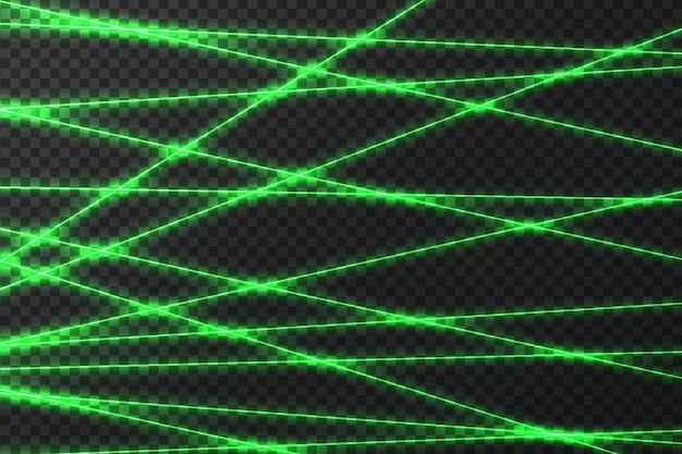 Sich kreuzende leuchtende lasersicherheitsstrahlen auf dunklem hintergrund
