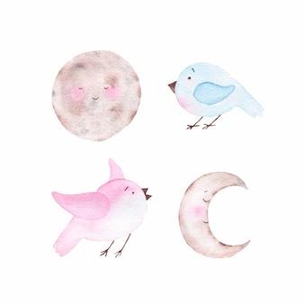 Sichelförmiger himmelskörper und vögel des niedlichen mondes des aquarells