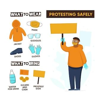 Sicher protestieren infografik