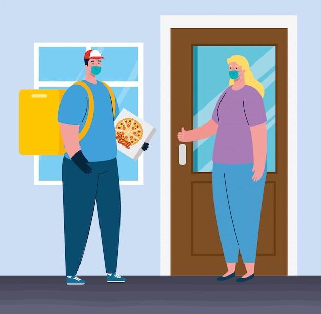 Sichere kontaktlose lieferung nach hause, um die ausbreitung des coronavirus zu verhindern