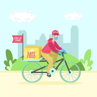 Sichere lebensmittellieferung mit person auf dem fahrrad