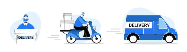 Sichere lieferung. maskierter kurier auf einem motorrad. lebensmittellieferant