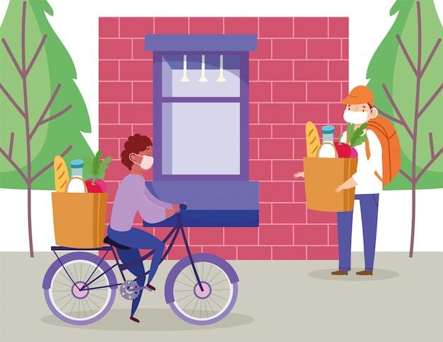 Sichere lieferung zu hause während coronavirus covid-19, kurier mann fahrrad fahren und andere zu fuß mit tasche markt illustration