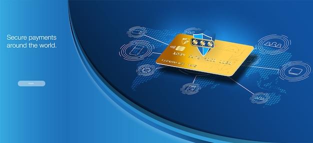 Sichere zahlungen auf der ganzen welt. geldkartentransfers und finanztransaktionen.