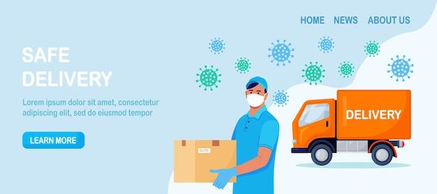 Sicherer lieferservice. essen online bestellen. kurier in gesichtsmaske und blauen medizinischen schutzhandschuhen mit kartonpaket. mann liefert paket per lkw aus