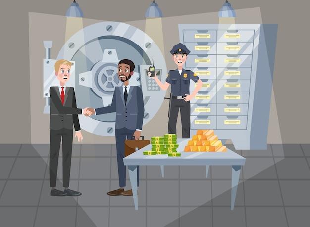 Sicherer raum im bankbüro. große sichere tür