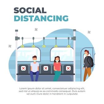 Sicherer reisender. zugpassagiere mit gesichtsmasken. halten sie die soziale distanzierung gemäß den gesundheitsprotokollen aufrecht. neue normalität im öffentlichen verkehr.