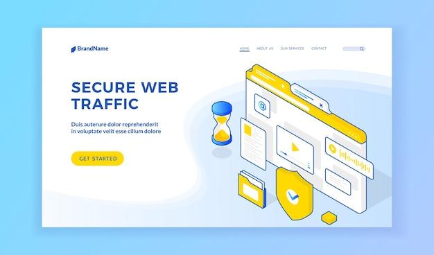 Sicherer webverkehr. isometrisches banner mit symbolen, die sichere webverkehrsinformationen auf modernen webseiten darstellen. datenschutz, internet-netzwerksicherheit. isometrisches webbanner, zielseitenvorlage