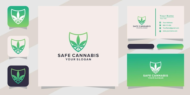 Sicheres cannabis-logo und visitenkarte