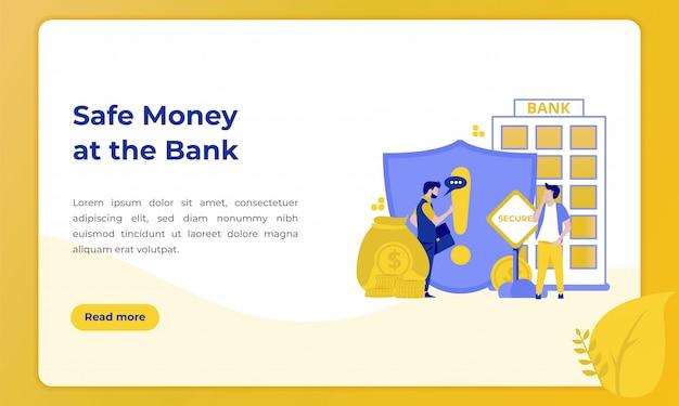 Sicheres geld in der bank, illustration mit dem thema des bankwesens