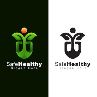 Sicheres gesundes logo, menschliches blatt mit schildlogodesign zwei version