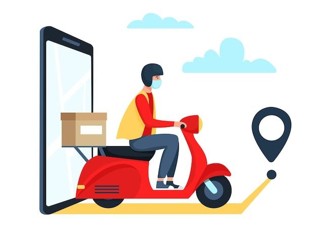 Sicheres lieferkonzept, lieferbote auf rotem roller, moped, motorrad. illustration im flachen stil