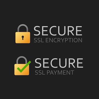 Sicheres ssl-zertifikat oder sicheres verschlüsseltes zahlungssymbol auf dunklem hintergrund