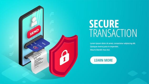 Sicheres transaktionsbanner isometrisch. mobiler zahlungsschutz. 3d-smartphone mit geldautomat, kreditkarte, benutzersymbol, schild. internet-banking-sicherheitskonzept, geld senden online-illustration