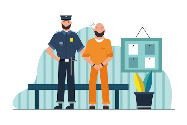 Sicherheit, arbeit, gefahr, gefängniskonzept. junger ernsthafter kerlpolizist gefängnisbeamter gefängniswärtercharakter, der männlichen gefangenen in handschellen im korridor hält. gefährliche berufliche inhaftierung von kriminellen.