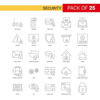 Sicherheit Black Line Icon - 25 Business Outline Icon Set