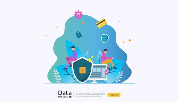 Sicherheit netzwerksicherheit und vertraulicher datenschutz mit personencharakter