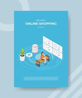 Sicherheit online-shopping-frauen sitzen auf bank verwenden laptop-mode auf dem bildschirm für vorlage flyer